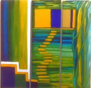 Stufen Triptychon_(Eike Schwalb) Gouache auf Leinwand