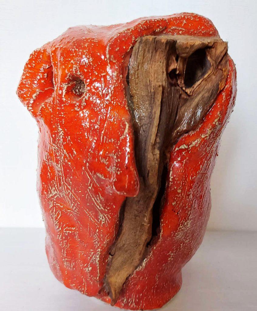 Eilmann, Splitter im Kopf, Holz glasierter Ton