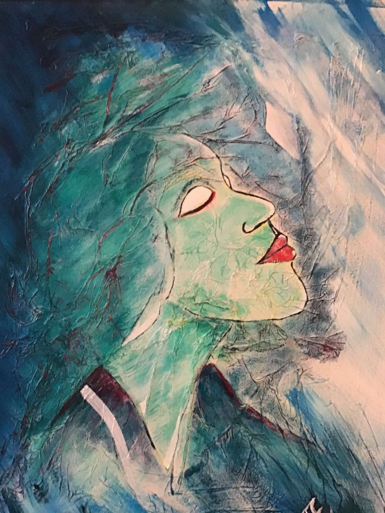 Essing, blue moon, Acryl auf Seidenpapier und Leinwand